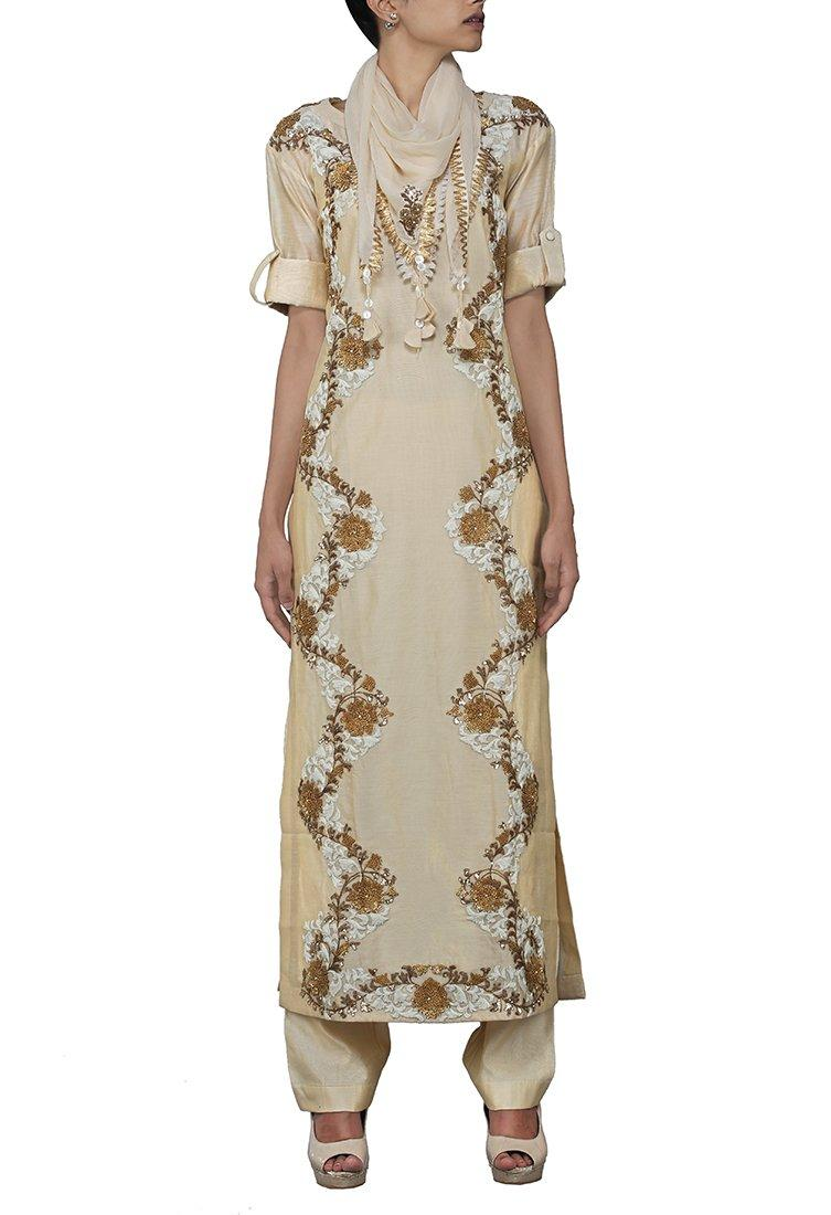Beige floral zardosi embroidered kurta set with stole by