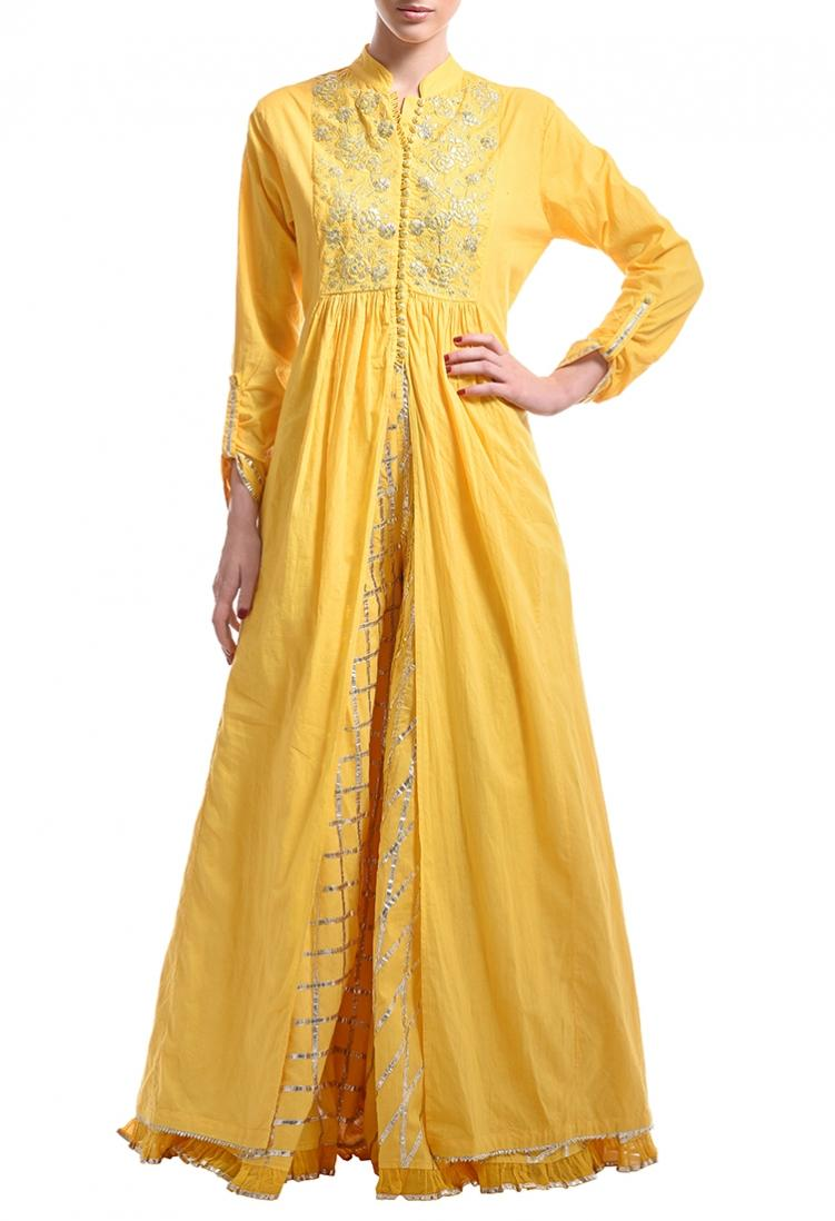 Canary yellow gota embroidered jacket with lehenga by